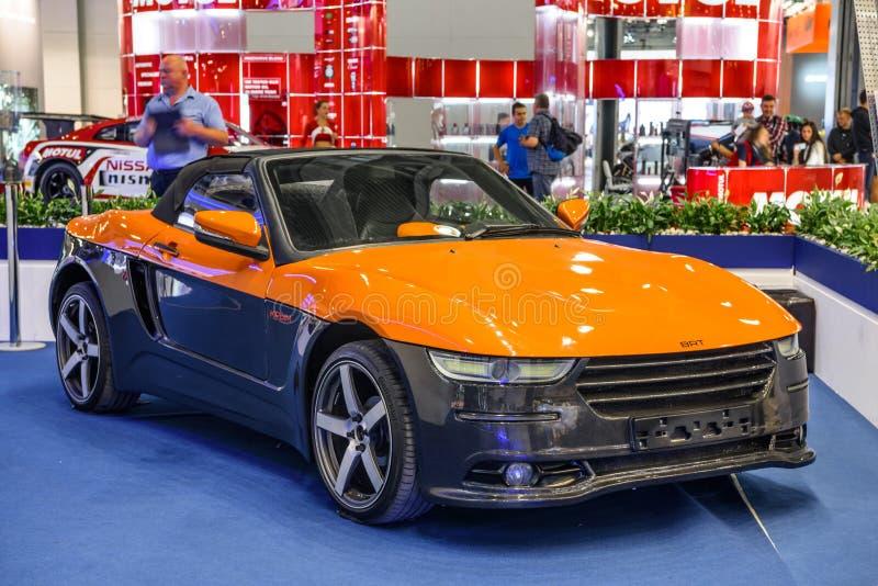 MOSCOU - AOÛT 2016 : Le roadster INTELLIGENT Crimée s'est présenté chez MIAS Moscow International Automobile Salon le 20 août 201 image libre de droits