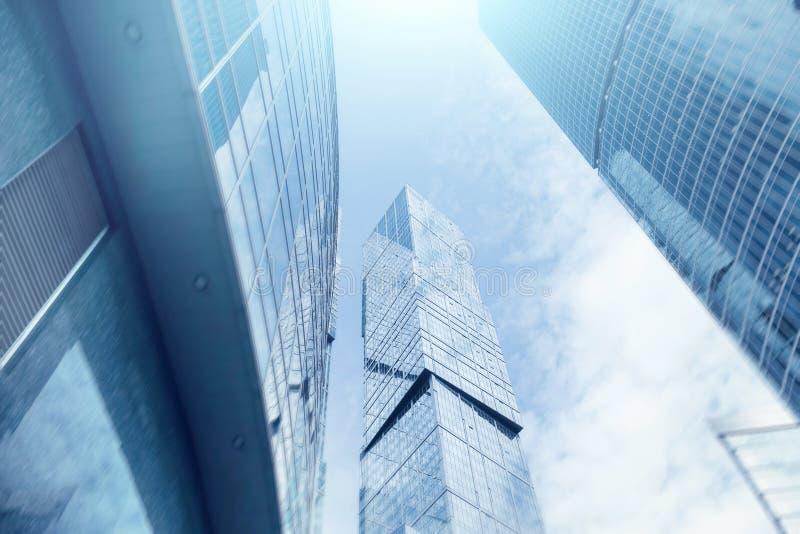 Moscou - bâtiments de centre d'affaires de ville fond de double exposition pour le concept d'affaires et de finances images libres de droits