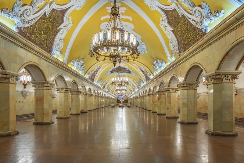 Moscou - 4 de agosto de 2018: Estação de metro interior fotos de stock royalty free
