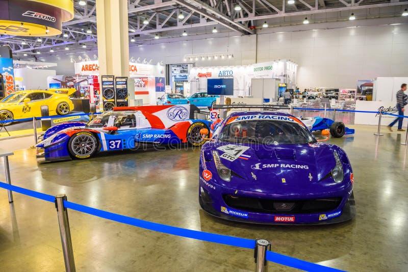 MOSCOU - EM AGOSTO DE 2016: A competência de Ferrari F458 Italia SMP apresentou em MIAS Moscow International Automobile Salon o 2 imagem de stock royalty free