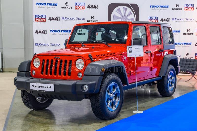 MOSCOU - EM AGOSTO DE 2016: Jeep Wrangler JK apresentou em MIAS Moscow International Automobile Salon o 20 de agosto de 2016 em M fotografia de stock royalty free