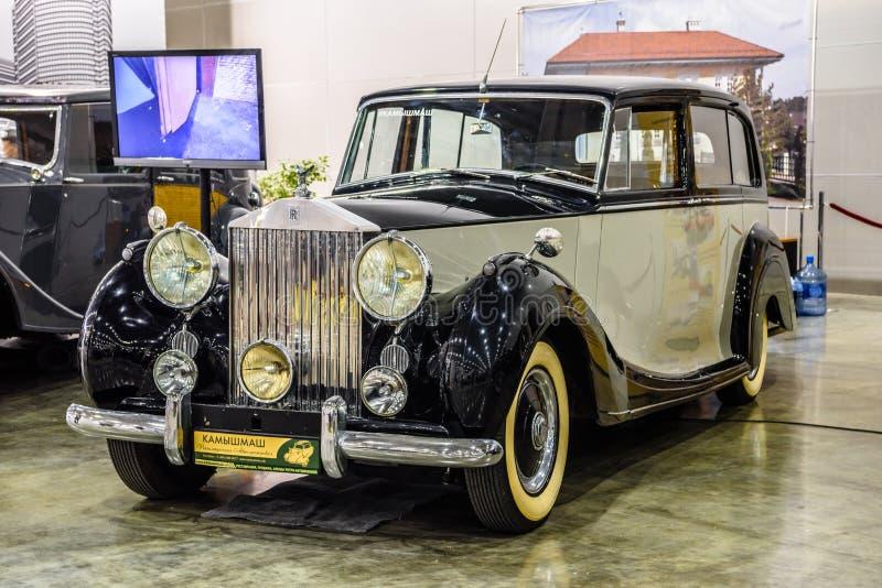MOSCOU - EM AGOSTO DE 2016: Rolls royce prateia a aparição 1951 apresentada em MIAS Moscow International Automobile Salon o 20 de imagens de stock royalty free