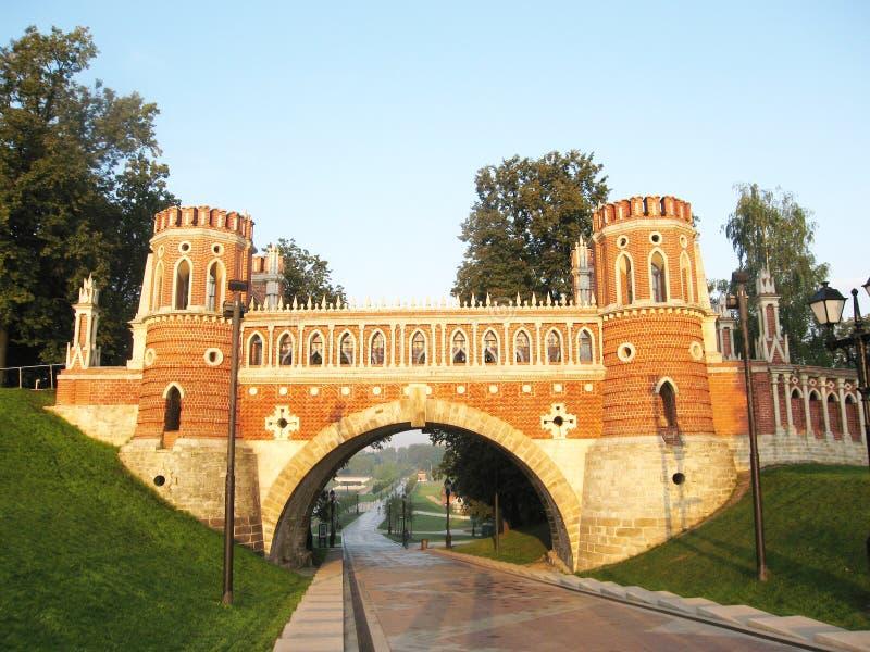 Moscou, pont dans Tsaritsino images libres de droits