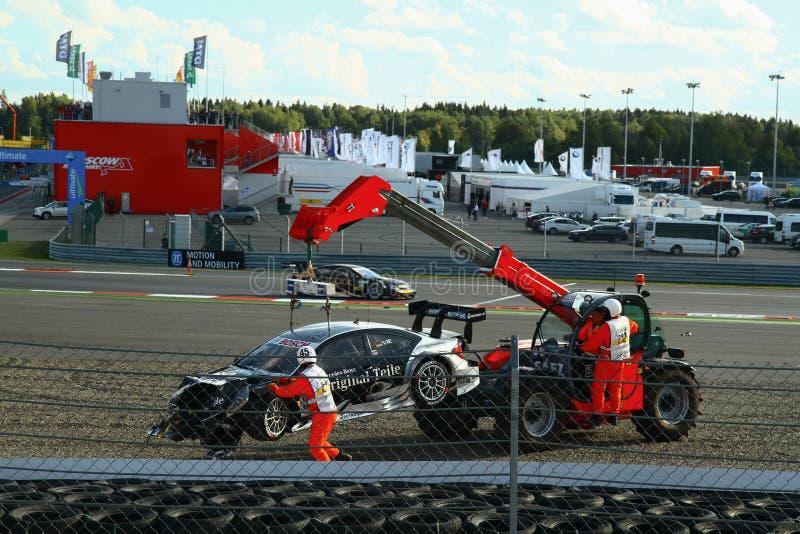 Moscou, Rússia - 29 de agosto de 2015: Fase extraordinária do canal adutor de Moscou do desafio do esporte de Porsche no âmbito d imagens de stock royalty free