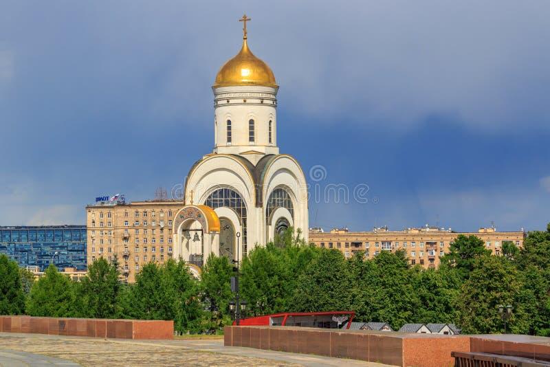 Moscou, Rússia - 9 de junho de 2018: Igreja do grande mártir George Victorious no monte de Poklonnaya em Moscou Vista de Victory  foto de stock royalty free