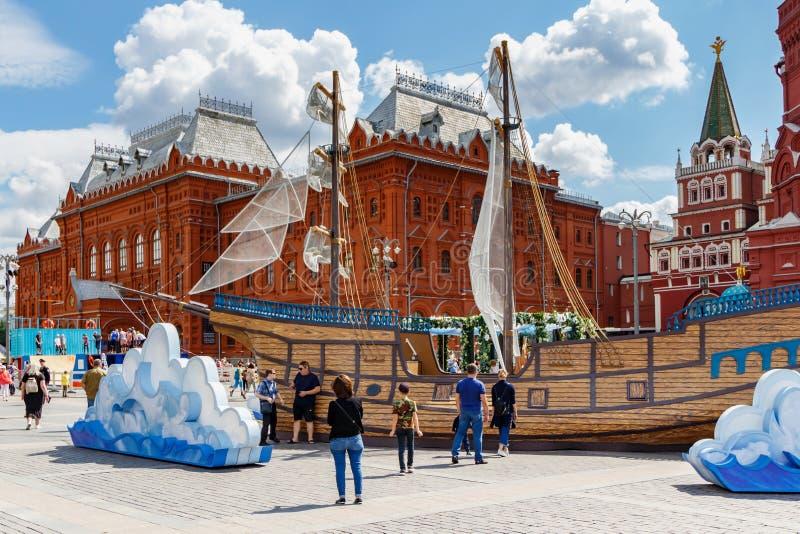 Moscou, Rússia - 2 de junho de 2019: Modelo grande do veleiro do vintage na semana anual dos peixes do festival em Moscou 2019 no imagem de stock
