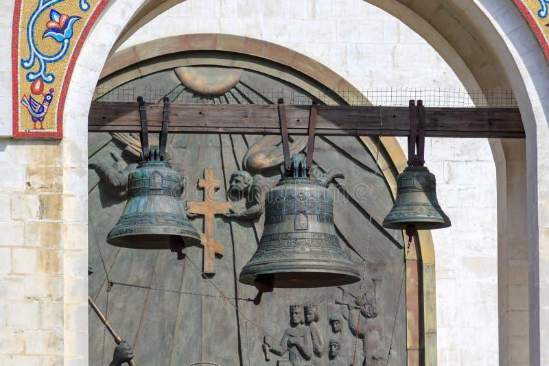 Moscou, Rússia - 9 de junho de 2018: Torre de Bell da igreja do grande mártir George Victorious no monte de Poklonnaya em Moscou  fotografia de stock royalty free