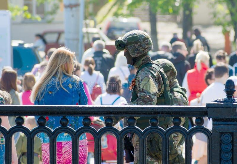 MOSCOU, RÚSSIA - 9 de maio de 2018: Soldados de forças especiais de exército do russo imagem de stock royalty free
