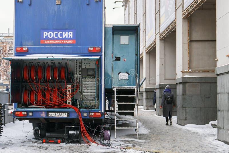 Moscou, Rússia - 3 de março de 2019 Canal de televisão móvel de canal de Rossia em Moscou foto de stock