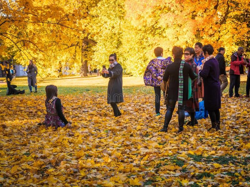 Moscou, Rússia - 11 de outubro de 2018: Os turistas chineses andam o parque do outono Os povos asiáticos tomam imagens no fundo d fotos de stock royalty free