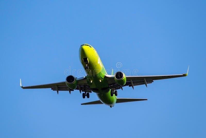Moscou, Rússia 2 de setembro de 2018: O aeroporto de Domodedovo, plano das linhas aéreas S7 de Boeing 737-800 está aterrando imagens de stock royalty free