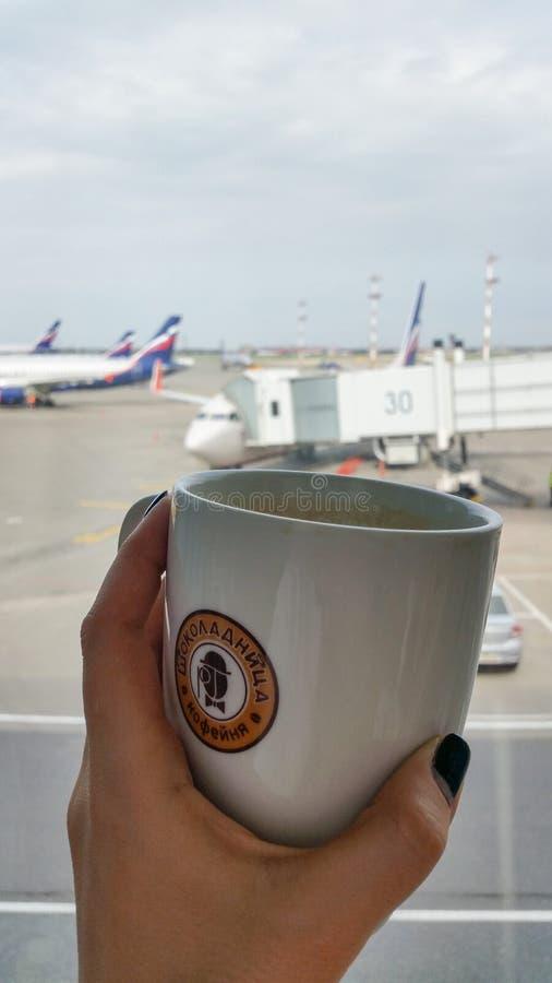 Moscou, Rússia - em abril de 2016: Xícara de café com etiqueta da casa do coffe de Shokoladnitsa na mão da menina Planos com libr foto de stock royalty free