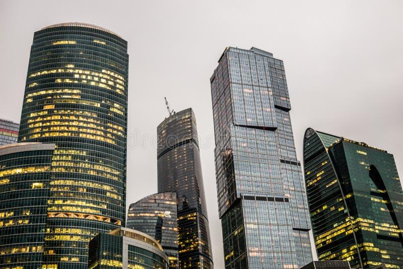 Moscou, Rússia - em julho de 2016 Arranha-céus do centro de negócios da cidade de Moscovo imagem de stock royalty free