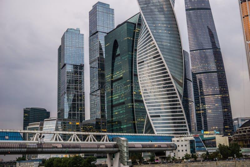 Moscou, Rússia - em julho de 2016 Arranha-céus do centro de negócios da cidade de Moscovo fotografia de stock royalty free