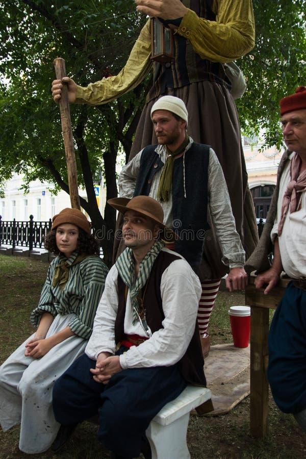Moscou, Rússia - em junho de 2019: Tempos e épocas históricos do festival Reconstrução da vida e das guerras foto de stock