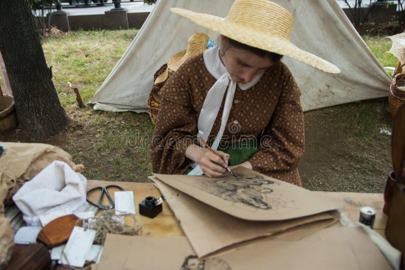 Moscou, Rússia - em junho de 2019: Tempos e épocas históricos do festival Reconstrução da vida e das guerras imagem de stock royalty free