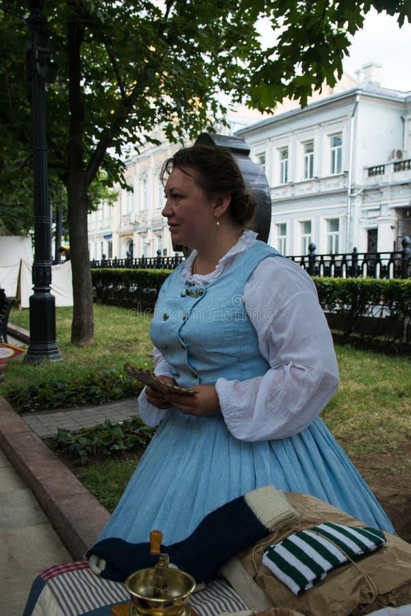 Moscou, Rússia - em junho de 2019: Tempos e épocas históricos do festival Reconstrução da vida e das guerras fotos de stock