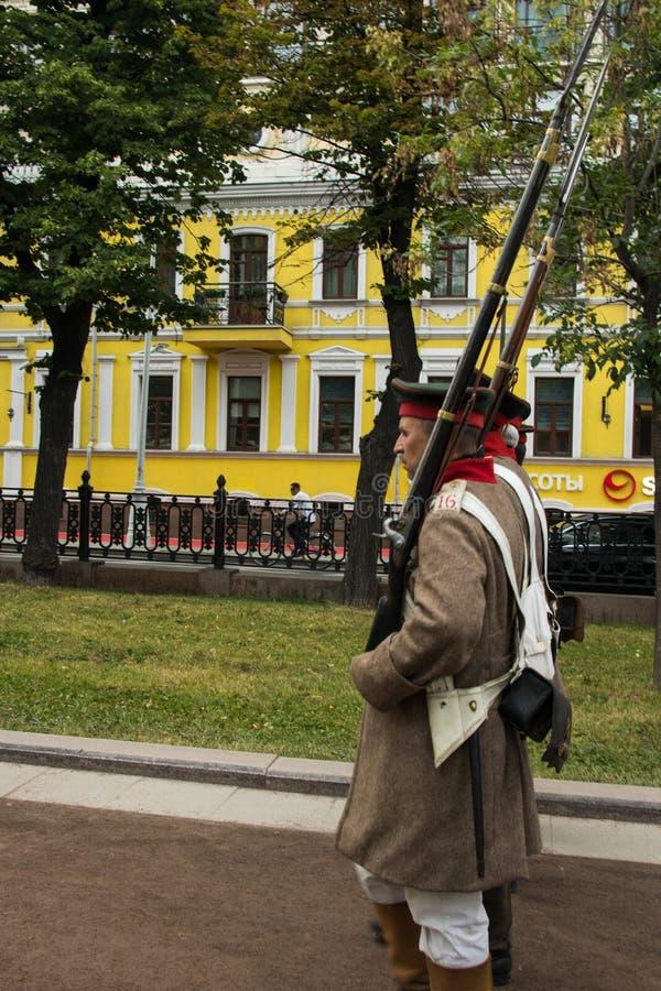 Moscou, Rússia - em junho de 2019: Tempos e épocas históricos do festival Reconstrução da vida e das guerras fotografia de stock