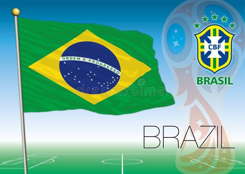 MOSCOU, RÚSSIA, junho-julho de 2018 - Rússia logotipo de 2018 campeonatos do mundo e a bandeira de Brasil ilustração royalty free