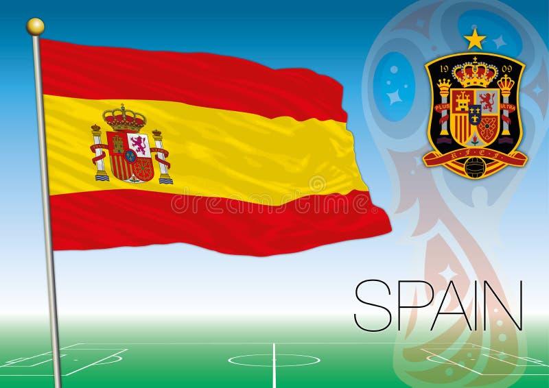 MOSCOU, RÚSSIA, junho-julho de 2018 - Rússia logotipo de 2018 campeonatos do mundo e a bandeira da Espanha ilustração royalty free