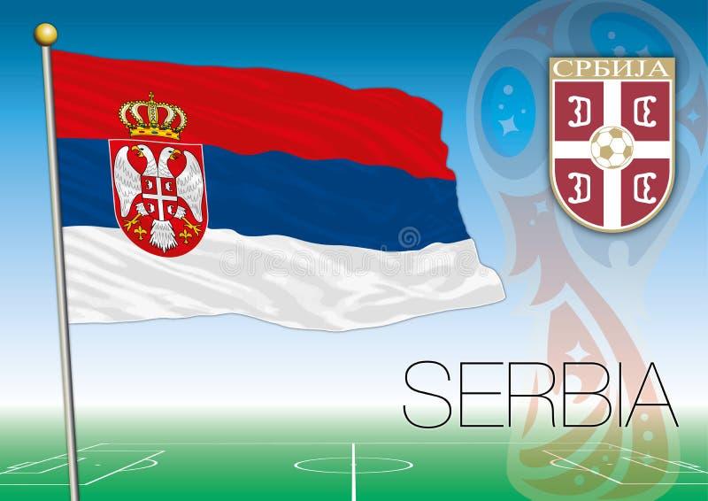 MOSCOU, RÚSSIA, junho-julho de 2018 - Rússia logotipo de 2018 campeonatos do mundo e a bandeira da Sérvia