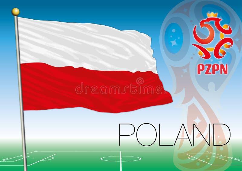 MOSCOU, RÚSSIA, junho-julho de 2018 - Rússia logotipo de 2018 campeonatos do mundo e a bandeira do Polônia ilustração royalty free