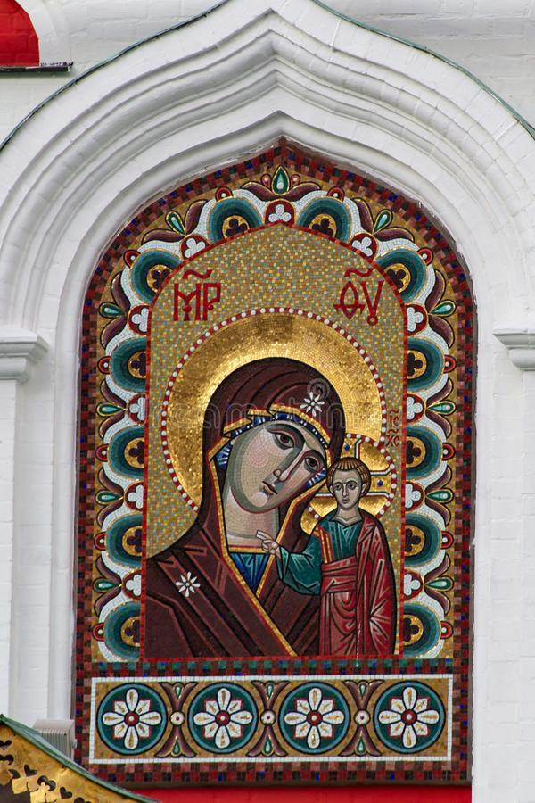Moscou, Rússia, 09 09 2019 Mosaico cristão Elementos da arquitetura na Praça Vermelha imagem de stock royalty free