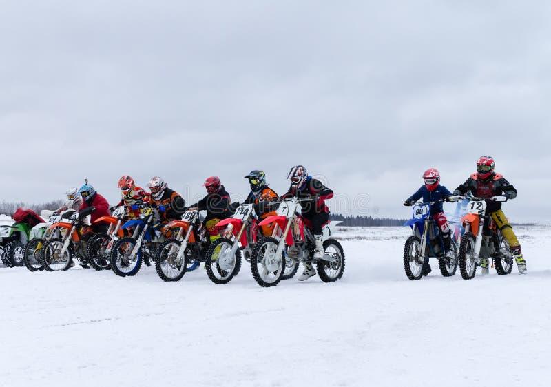 MOSCOU, RÚSSIA: MX-estrada anual 2015 dos cavaleiros da competição fotografia de stock
