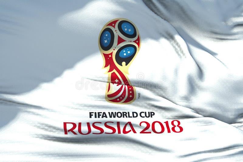 Moscou, Rússia, o 14 de junho de 2018, FIFA - textura de ondulação da tela do th fotos de stock