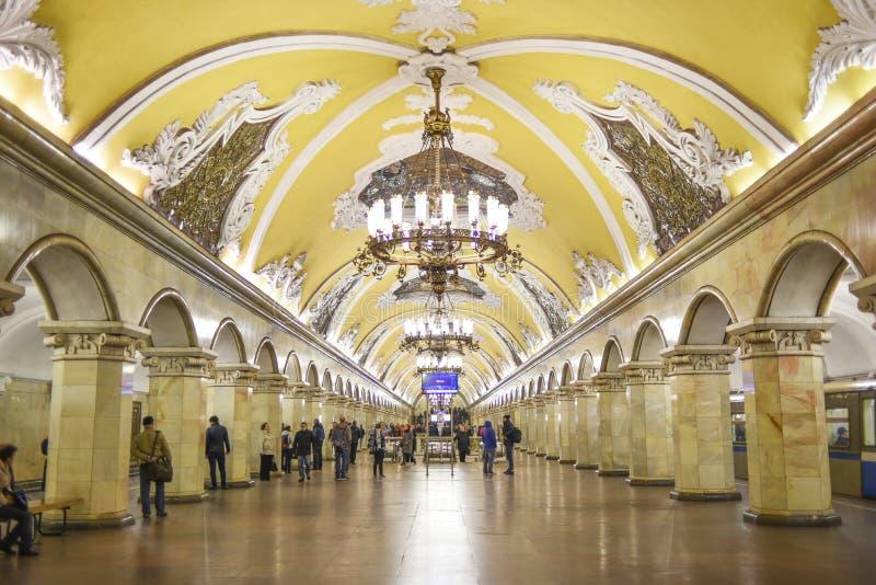 Moscou, Rússia, o 6 de outubro de 2016: Sagacidade da estação de metro de Komsomolskaya imagem de stock