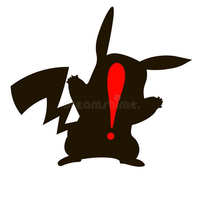 Moscou, Rússia - 03 08 2016: silhueta preta de Pikachu e de marca de exclamação Ícone editorial do vetor Ilustração isométrica ilustração do vetor