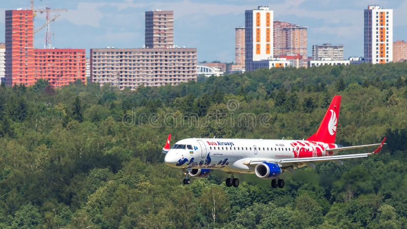 Moscou, Russia-07/02/2018 : L'avion de passagers débarque à l'aéroport international VKO de Vnukovo à Moscou images libres de droits