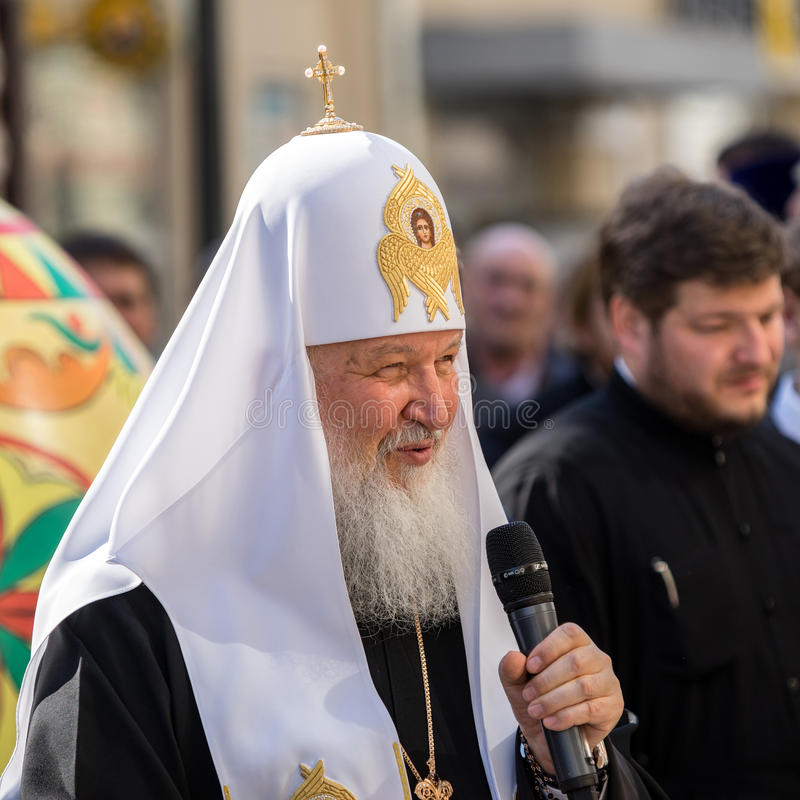 MOSCOU, RUSSIE - 21 AVRIL : Patriarche russe Kirill pendant une force photos libres de droits