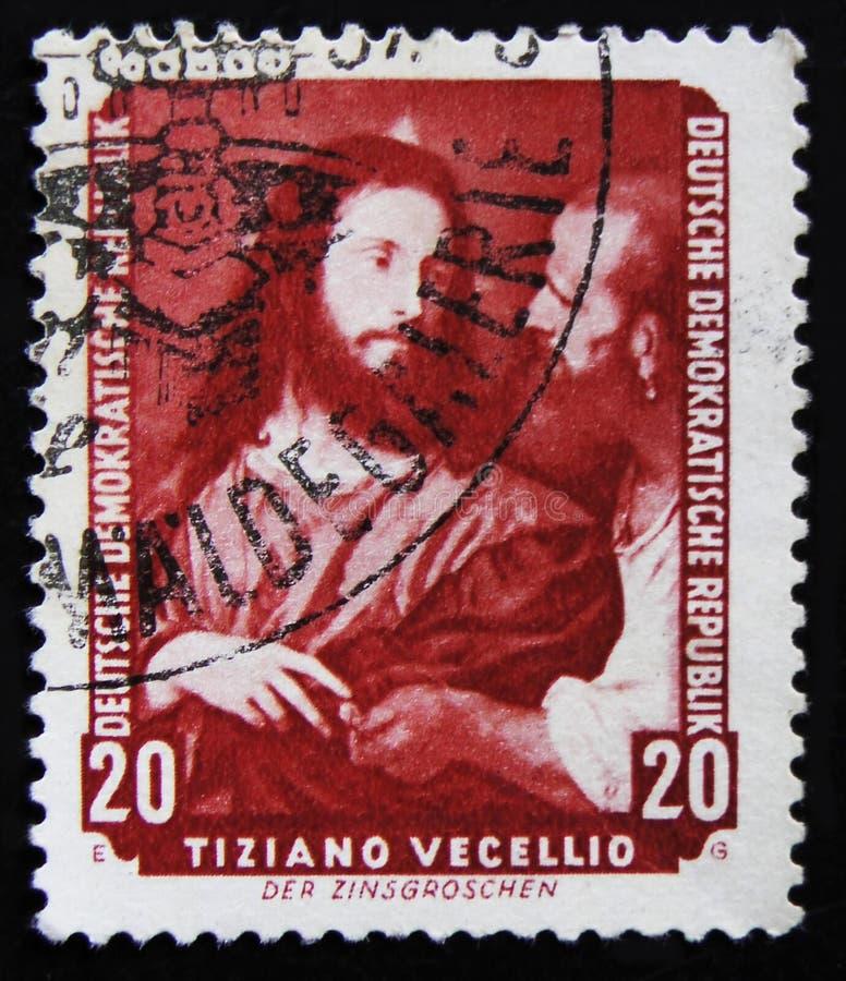MOSCOU, RUSSIE - 2 AVRIL 2017 : Un timbre de courrier imprimé en RDA (Ger photo libre de droits
