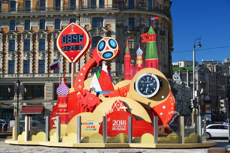 Moscou, Russie - 18 février 2016 Observez le compte à rebours au début de la coupe du monde sur la place de Manezhnaya photographie stock libre de droits