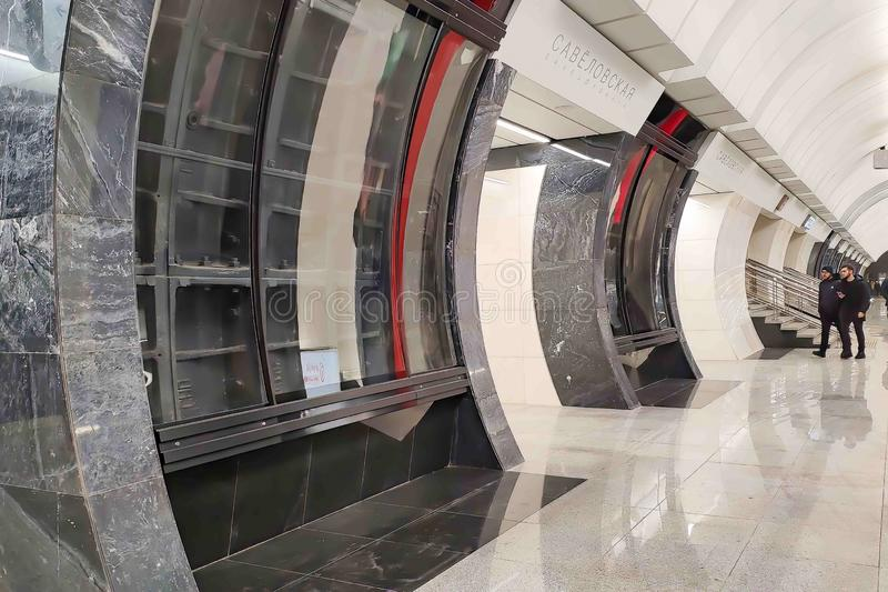 Moscou, Russie - 29 janvier 2019 : Hall de passager de la station de métro Savelovskaya image stock