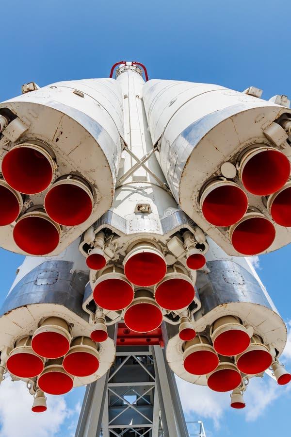 Moscou, Russie - 22 juillet 2019 : Becs de moteurs de fusée d'espace soviétique Vostok en parc de VDNH en plan rapproché de Mosco photos stock