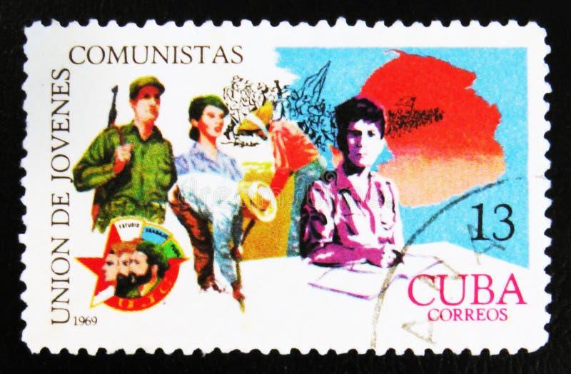 MOSCOU, RUSSIE - 15 JUILLET 2017 : Timbre rare imprimé dans des expositions du Cuba photo stock