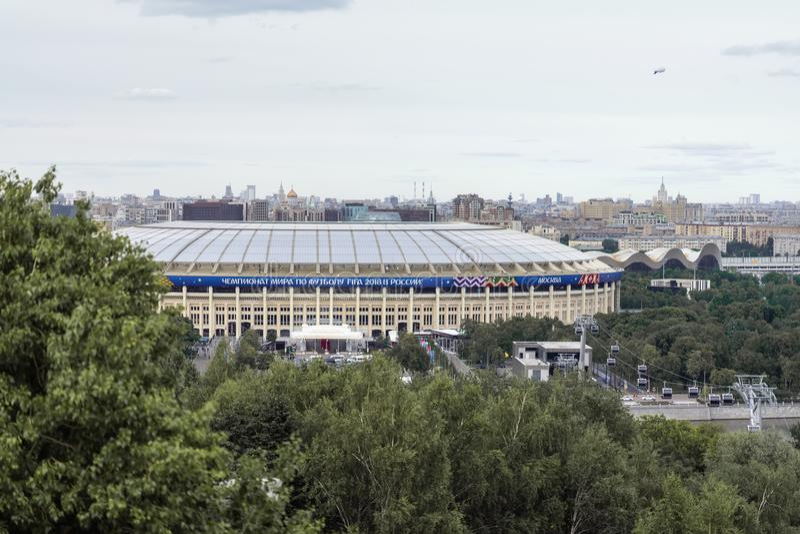 MOSCOU, RUSSIE - JUIN, 14, 2018 : Stade national de stade de Luzhniki de la Russie Vue de l'arène de sports grande, la FIFA 2018 images stock
