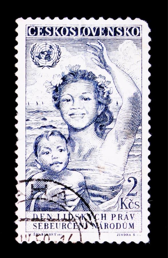MOSCOU, RUSSIE - 20 JUIN 2017 : Un timbre imprimé dans Czechoslovaki image stock