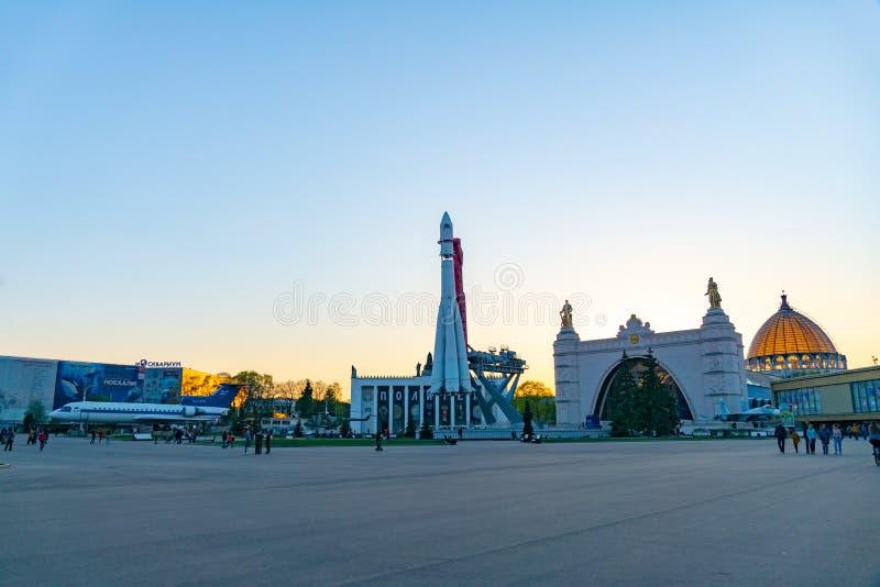 Moscou, Russie, le 30 avril 2019 : Vaisseau spatial russe Vostok 1, monument de la première fusée soviétique à VDNH photographie stock libre de droits