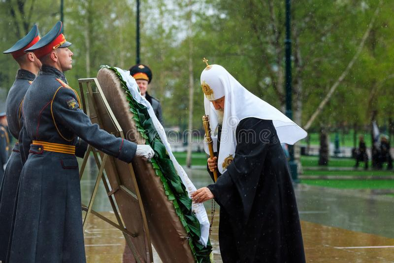 MOSCOU, RUSSIE - 8 MAI 2017 : Patriarche de Moscou et de tout le ` KIRILL de Rus et le CLERGÉ PLUS ÉLEVÉ de l'église orthodoxe ru images libres de droits