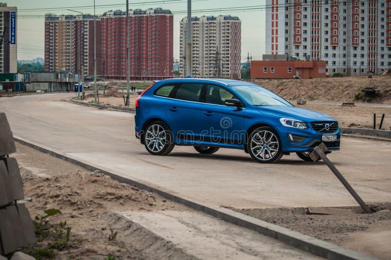 MOSCOU, RUSSIE - 20 mai 2017 POLESTAR de VOLVO XC60, vue d'avant-side Essai de nouveau Polestar de Volvo XC60 Cette voiture est c photo stock