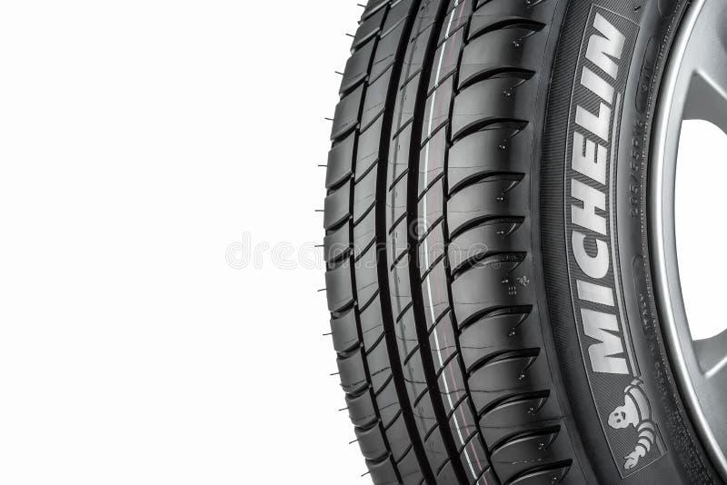 MOSCOU, RUSSIE - 4 MARS 2016 : Primauté 3 205/55 de pneu de voiture d'hiver image stock