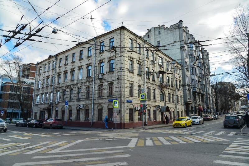 Moscou, Russie - 14 mars 2016 Rue et Pereulok Basmanny de Novoryazanskaya de carrefours images stock