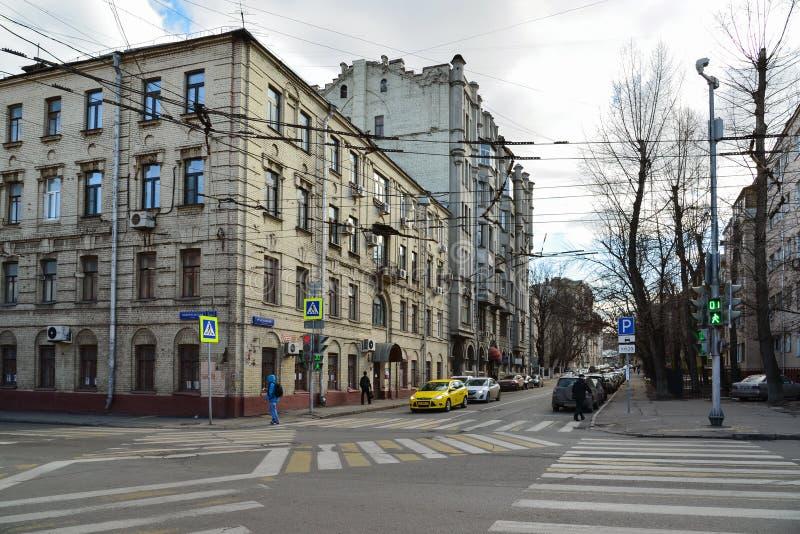 Moscou, Russie - 14 mars 2016 Rue et Pereulok Basmanny de Novoryazanskaya de carrefours photos libres de droits