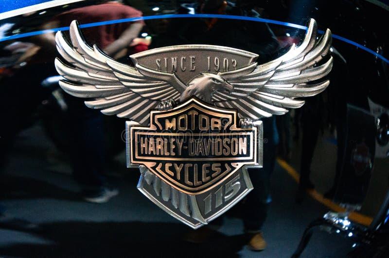 Moscou, Russie - 17 mars 2018 : Société de moteur de Harley-Davidson Exposition des motos Harley-Davidson images stock