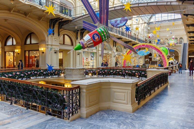 Moscou, Russie - 21 novembre 2019 : Décoration de l'intérieur du grand magasin GUM State sur la place Rouge par décorations de No photographie stock