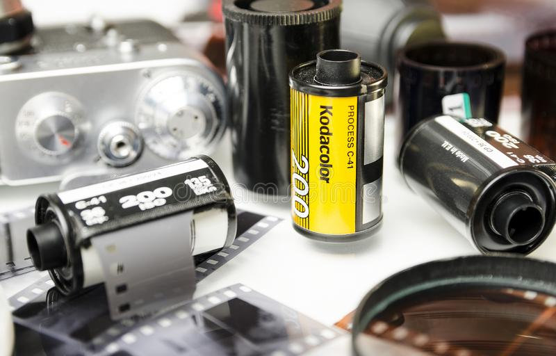 Moscou, Russie - peuvent 21, 2019 : Plan rapproch? de Kodak de kodacolor de film photos libres de droits