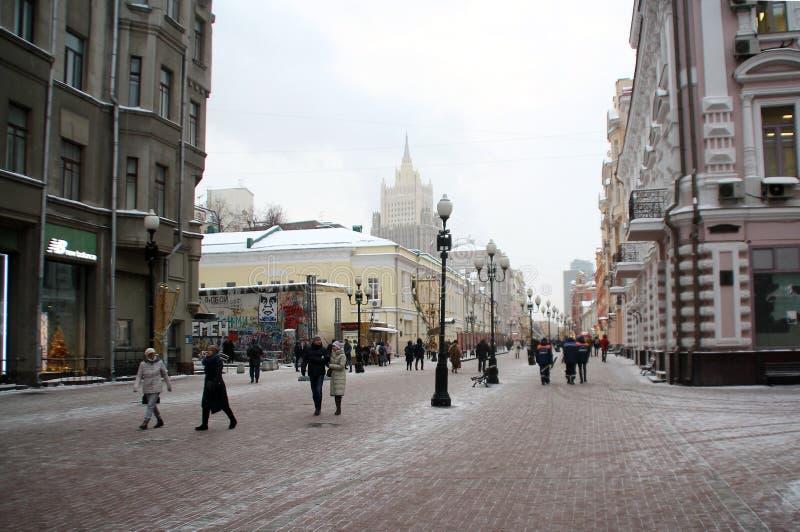 Moscoviti ed ospiti del capitale, passeggiata lungo il Arbat fotografia stock